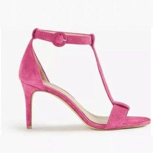 Ann Taylor Hot Pink Demi Suede T Strap Sandals 7.5